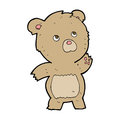 Cartoon curious teddy bear hand drawn illustration in retro style vector available Stock Photography