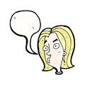 Cartoon curious woman face Royalty Free Stock Image
