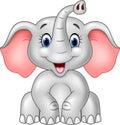 Cartoon cute baby elephant isolated on white background Royalty Free Stock Photo