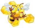 Cartoon cute bee with honeycomb