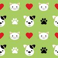 Cartoon cute cats and dogs vector seamless pattern. Good for background, wallpaper, cover, textile and card for children
