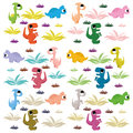 Cartoon cute and colorful group of dinosaurs vector Stock Photography