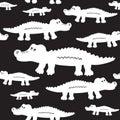 Cartoon cute crocodiles seamless vector pattern.