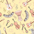 Cartoon cute doodles hand drawn Musical seamless pattern. Endless funny vector illustration. Backdrop with music symbols