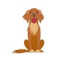 Cartoon cute, friendly big brown dog sitting straight, front view