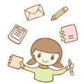 Cartoon cute girl with stationery icon vector illustration Royalty Free Stock Photos