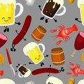 Cartoon cute hand drawn Beer fest seamless pattern. Colorful with lots of objects background. Endless funny vector illustration Royalty Free Stock Photo