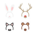 Cartoon Cute Headband with Ears Holiday Set. Rabbit, deer, cat, bear. Flat Design Style. Party Mask Vector illustration.