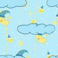 Cartoon cute illustration seamless pattern for a child's room or bed linen and pajamas with smiling moon and stars. Vector Royalty Free Stock Photo