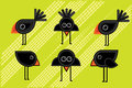 Cartoon cute little blackbirds illustrations Royalty Free Stock Photo