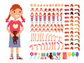 Cartoon cute little girl character. Vector creation constructor with different emotions and body parts