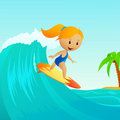 Cartoon cute little girl surfing on waves Stock Images