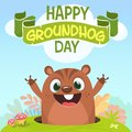 Cartoon cute marmot looking out of a hole. Vector illustration. Royalty Free Stock Photo