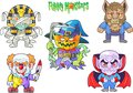 Cute monsters, set of vector images Royalty Free Stock Photo