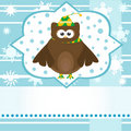 Cartoon cute owl winter greetings card vector Stock Photo