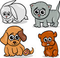 Cartoon cute pets animals set illustration of little baby Stock Photography