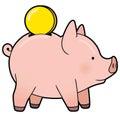 Cartoon cute piggy bank with golden coin vector Royalty Free Stock Photo