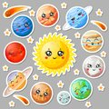 Cartoon cute planets stickers. Happy planet face, smiling earth and sun. Astronomy solar system sticker vector