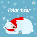 Cartoon Cute Polar Bear Animal Banner Card. Vector