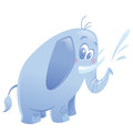 Cartoon cute purple elephant animal spitting water friendly blue with small tusks Stock Image