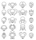 Cartoon cute skull linear icon set