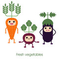 Cartoon Cute smiling vegetables - carrots, eggplant and beets. Royalty Free Stock Photo