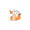 Cartoon cute squirrel. Little funny print. Vector illustration