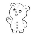 Cartoon cute teddy bear black and white line in retro style vector available Royalty Free Stock Photo