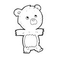 Cartoon cute teddy bear black and white line in retro style vector available Royalty Free Stock Photos