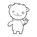 Cartoon cute teddy bear black and white line in retro style vector available Stock Photography