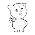 Cartoon cute teddy bear with scarf black and white line in retro style vector available Stock Photo