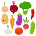 Cartoon vegetables vector set in flat style. Onion, carrot, cucumber, paprika, tomato, pepper, broccoli, garlic, potato Royalty Free Stock Photo