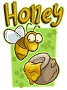 Cartoon cute yellow bee with honey jar vector icon