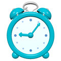 Cartoon d turquoise clock glossy five past nine o Stock Image