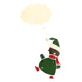 Cartoon dancing christmas elf Royalty Free Stock Image