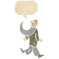 Cartoon dancing old man with speech bubble Stock Photography
