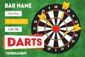 Cartoon Darts Tournament Horizontal Invitation for Bar. Vector Royalty Free Stock Photo