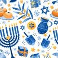 Cartoon decorative elements of Jewish holiday Hanukkah seamless pattern. Colorful Menorah candles, David star and flying