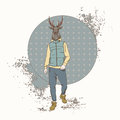 Cartoon Deer Hipster Wear Fashion Clothes Retro Abstract Background