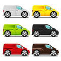 Cartoon delivery van with big wheels six different colors Stock Images