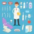 Cartoon dentist doctor character and stomatology equipment vector illustration. Royalty Free Stock Photo