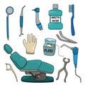 Cartoon dentist tool icon set Stock Images
