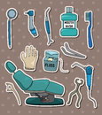 Cartoon dentist tool stickers Stock Photos