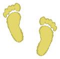 A cartoon depiction of two footprints in the sand Royalty Free Stock Images