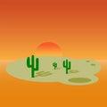 Cartoon desert landscape banner design.
