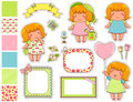 Cartoon design elements cute girls with a set of frames and swatches Royalty Free Stock Photos