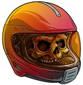 Cartoon human skull in motorcycle sport helmet Royalty Free Stock Photo