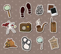 Cartoon detective equipment stickers Stock Photos