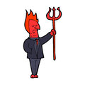 Cartoon devil with pitchfork hand drawn illustration in retro style vector available Royalty Free Stock Photo