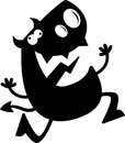Cartoon devil silhouette crazy a of a running and looking Stock Image